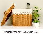 brown basket on table    Shutterstock . vector #689985067