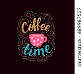 hand drawn lettering with... | Shutterstock .eps vector #689987527