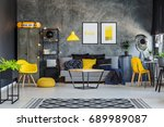 stylish and modern studio with... | Shutterstock . vector #689989087