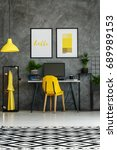 room with metal desk  yellow... | Shutterstock . vector #689989153