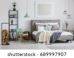 cozy stylish hotel room with... | Shutterstock . vector #689997907