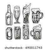 hand drawn doodle beer set. | Shutterstock .eps vector #690011743