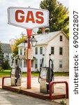 vintage petrol station along a... | Shutterstock . vector #690022807