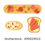 set toasts and sandwich... | Shutterstock . vector #690024013