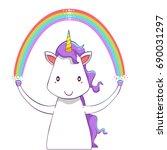 cute creative unicorn cartoon... | Shutterstock .eps vector #690031297