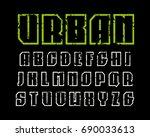 sanserif contour font in sport... | Shutterstock .eps vector #690033613