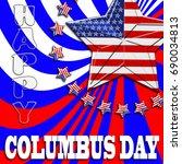 happy columbus day  3d ... | Shutterstock . vector #690034813