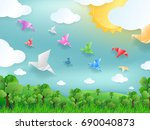 white paper of bird flying... | Shutterstock .eps vector #690040873