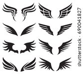 wings icons set | Shutterstock .eps vector #690041827