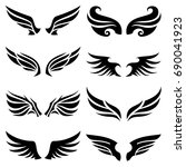 wing icons set  wing logo... | Shutterstock .eps vector #690041923