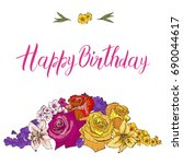 Greeting Card With Colorful...