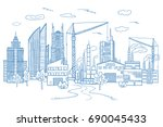 big city landscape with... | Shutterstock . vector #690045433