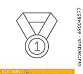 first place gold medal icon.... | Shutterstock .eps vector #690048577