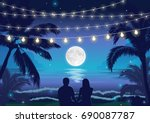 romantic night beach scene with ... | Shutterstock .eps vector #690087787