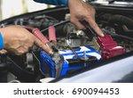 hand of technician checking...   Shutterstock . vector #690094453