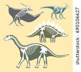 dinosaurs skeletons silhouettes ... | Shutterstock .eps vector #690106627
