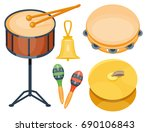 musical drum wood rhythm music... | Shutterstock .eps vector #690106843