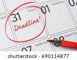 deadline written on a calendar  ... | Shutterstock . vector #690114877
