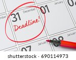 Small photo of Deadline written on a calendar - December 31