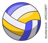 volleyball ball icon. cartoon... | Shutterstock .eps vector #690124897