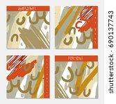 hand drawn creative invitation... | Shutterstock .eps vector #690137743