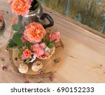 herbal tea with fresh and dry... | Shutterstock . vector #690152233