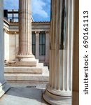 Small photo of ATHENS, GREECE - APRIL 14, 2017: Neoclassical architecture of the Academy of Athens, part of the Athenian Trilogy - Ionic columns.