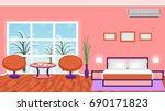 bright bedroom interior with... | Shutterstock . vector #690171823