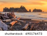 rialto beach at sunset in... | Shutterstock . vector #690176473