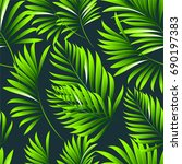 tropical palm leaves  jungle... | Shutterstock .eps vector #690197383