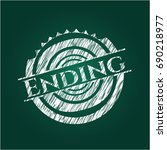 ending written with chalkboard... | Shutterstock .eps vector #690218977