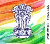 lion capital of ashoka in... | Shutterstock .eps vector #690226327