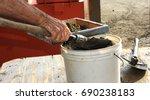 man transfer his bucket of...   Shutterstock . vector #690238183