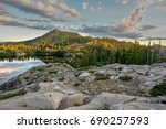 sunrise over the mountains... | Shutterstock . vector #690257593