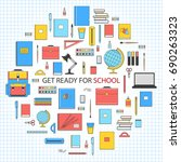 get ready for school banner.... | Shutterstock .eps vector #690263323