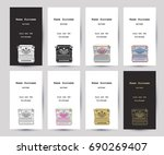 set of business cards with hand ... | Shutterstock .eps vector #690269407