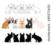 set of french bulldog group | Shutterstock .eps vector #690271633