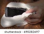 closeup hands holding white... | Shutterstock . vector #690282697