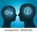 man and woman head silhouette with key and lock symbol communicating - stock vector