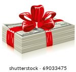 thick bundle of dollars  tied a ... | Shutterstock .eps vector #69033475
