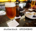 close up detail of an ale beer... | Shutterstock . vector #690340843