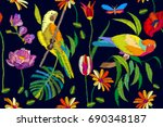 tropical summer night. seamless ... | Shutterstock .eps vector #690348187