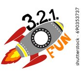 print rocket 3.2.1. fun. for t... | Shutterstock .eps vector #690353737