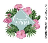 summer tropical  design with... | Shutterstock .eps vector #690357073