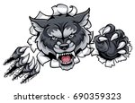 a wolf angry animal sports... | Shutterstock .eps vector #690359323