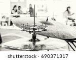 detail of drums and cymbals.... | Shutterstock . vector #690371317