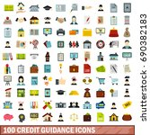 100 credit guidance icons set... | Shutterstock .eps vector #690382183