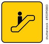 escalator sign yellow. vector. | Shutterstock .eps vector #690390883