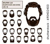 vector set hipster hair and... | Shutterstock .eps vector #690402403
