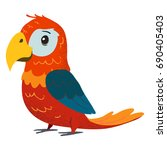 funny red parrot. cartoon clip... | Shutterstock .eps vector #690405403